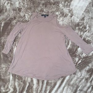 Beige Cold Shoulder 3/4 Sleeve Top Size Small